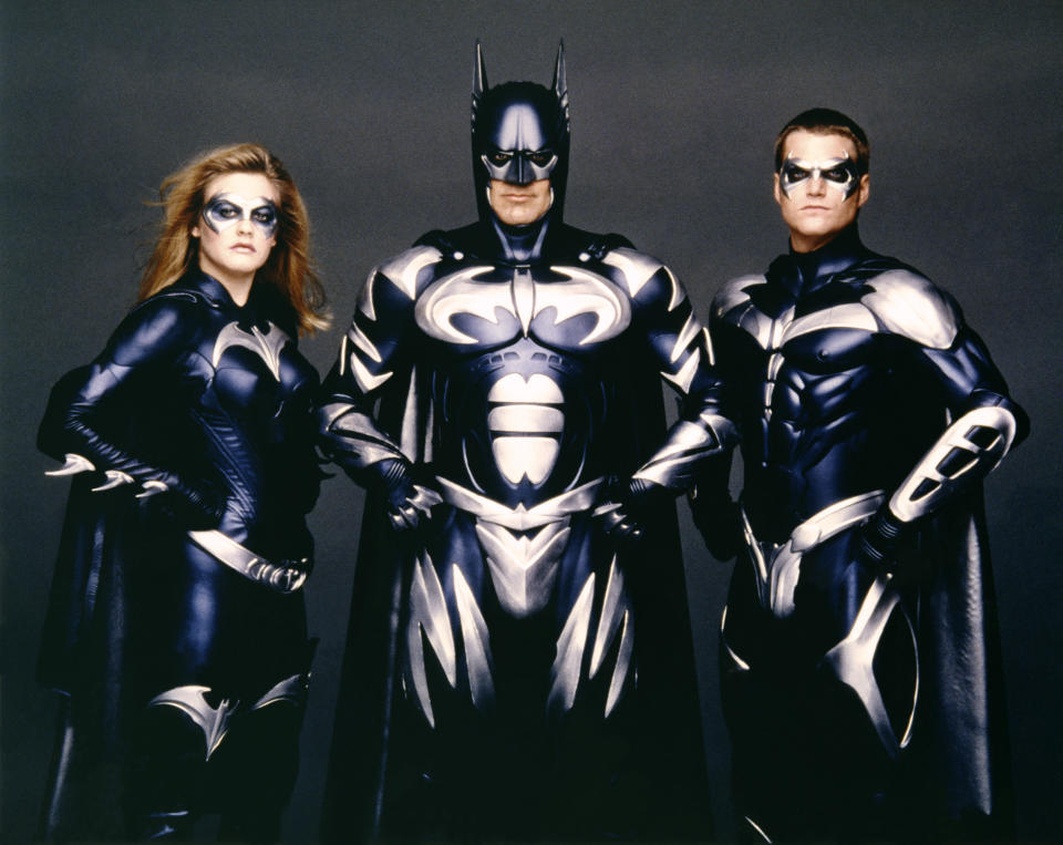 American actors Alicia Silverstone, George Clooney and Chris O'Donnell on the set of Batman & Robin, directed by Joel Schumacher. (Photo by Warner Bros. Pictures/Sunset Boulevard/Corbis via Getty Images)