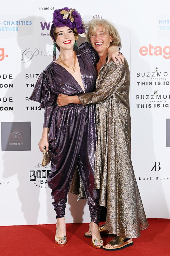 <p>Gaia Wise and Emma Thompson embrace on Sept. 17 at The Icon Ball to raise funds for NHS Charities Together and Well Child at the Landmark Hotel in London.</p>