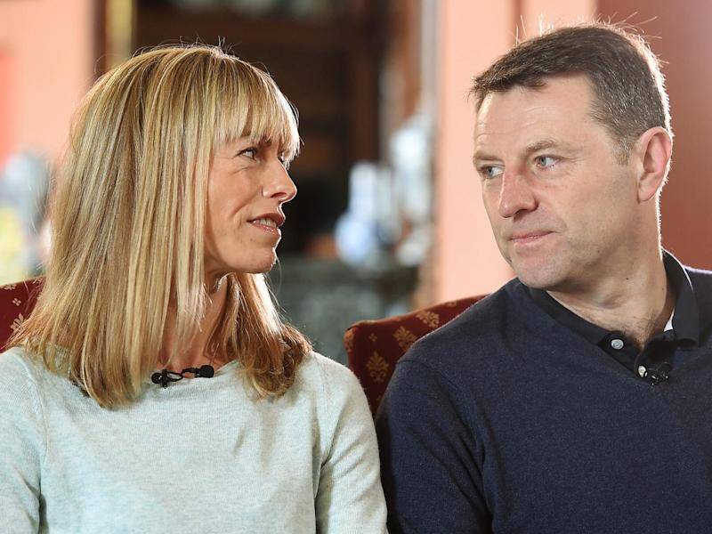 Kate and Gerry McCann, whose daughter Madeleine disappeared from a holiday flat in Portugal ten years ago, during an interview with the BBC's Fiona Bruce at Prestwold Hall in Loughborough (Joe Giddens/PA Wire)
