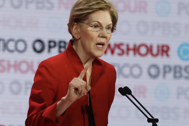 Democratic presidential candidate Sen. Elizabeth Warren, D-Mass., speaks during a Democratic presidential primary debate Thursday, Dec. 19, 2019, in Los Angeles. (AP Photo/Chris Carlson)