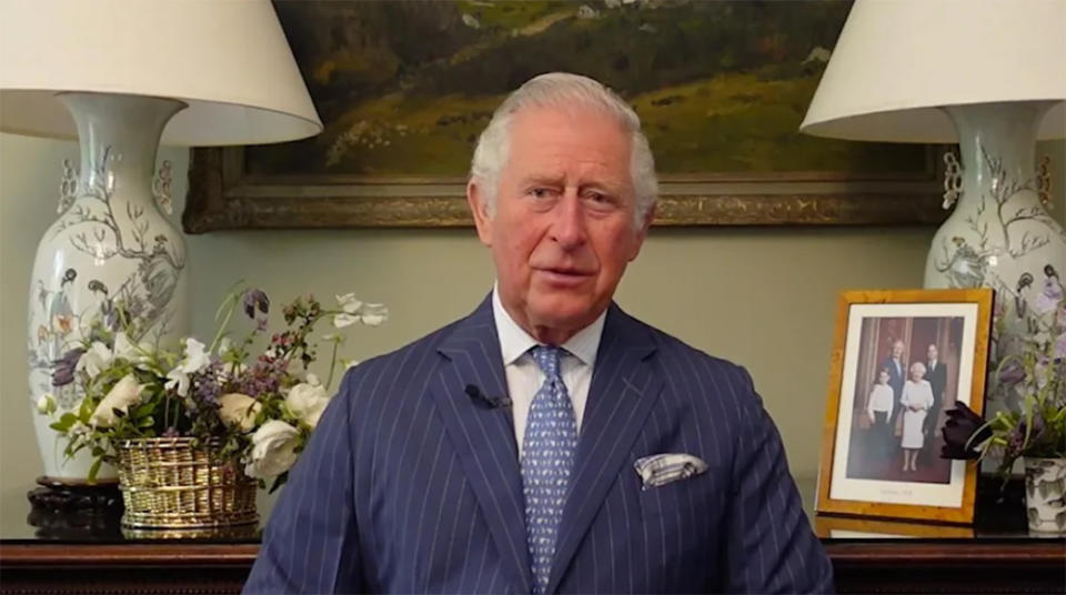 Prince Charles records a video message for an Australian Institute of Superannuation Trustees conference in Adelaide. Photo: AAP.