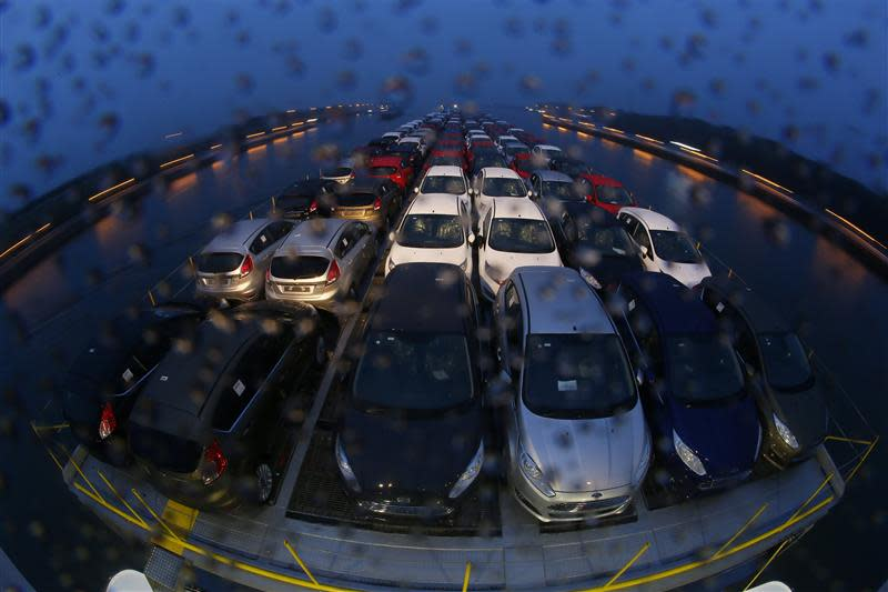"""Newly manufactured Ford Fiesta cars are seen on the deck of the car transport ship """"Tossa"""", during its journey from a Ford plant in the German city of Cologne"""