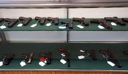 A selection of handguns are seen for sale at the Pony Express Firearms shop in Parker