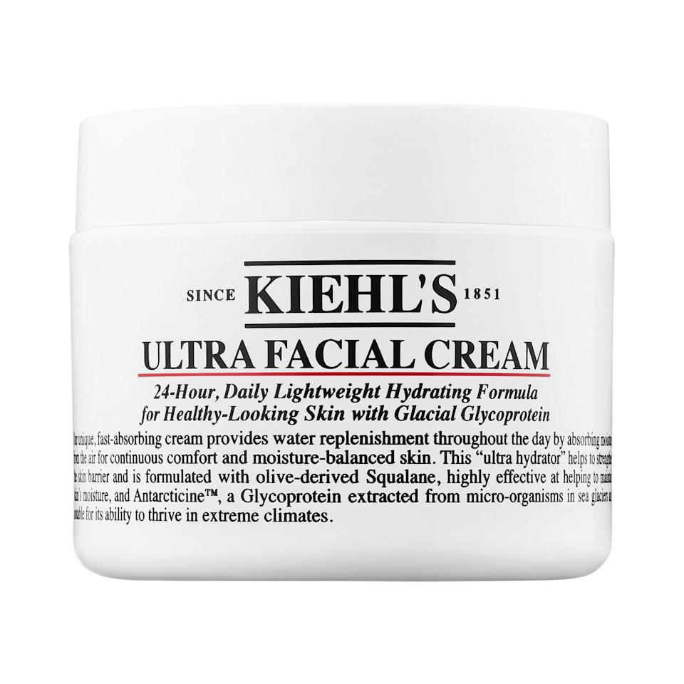 """<p><strong>Kiehl's Since 1851</strong></p><p>sephora.com</p><p><strong>$32.00</strong></p><p><a href=""""https://go.redirectingat.com?id=74968X1596630&url=https%3A%2F%2Fwww.sephora.com%2Fproduct%2Fultra-facial-cream-P421996&sref=https%3A%2F%2Fwww.harpersbazaar.com%2Fbeauty%2Fmakeup%2Fg34670724%2Fsephora-black-friday-deals-2020%2F"""" rel=""""nofollow noopener"""" target=""""_blank"""" data-ylk=""""slk:Shop Now"""" class=""""link rapid-noclick-resp"""">Shop Now</a></p><p>No word yet which Kiehl's products will make the Black Friday cut this year, but we have our eyes on this 24-hour moisturizer. It's light while still packing a hydrating punch—helpful for colder temps when the wind picks up. </p>"""
