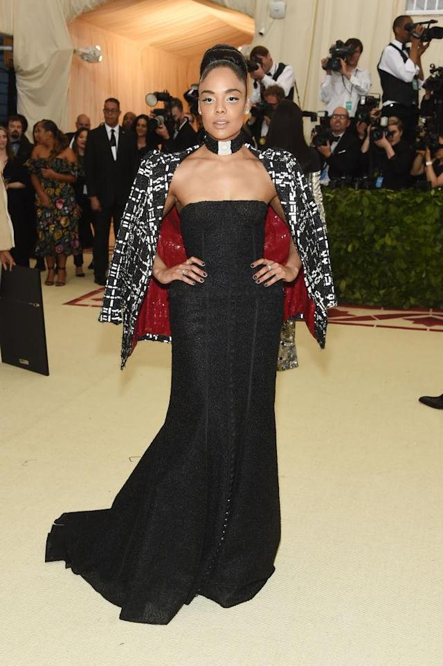 <p>Tessa Thompson in Thom Browne<em>.</em> (Photo: Getty Images) </p>