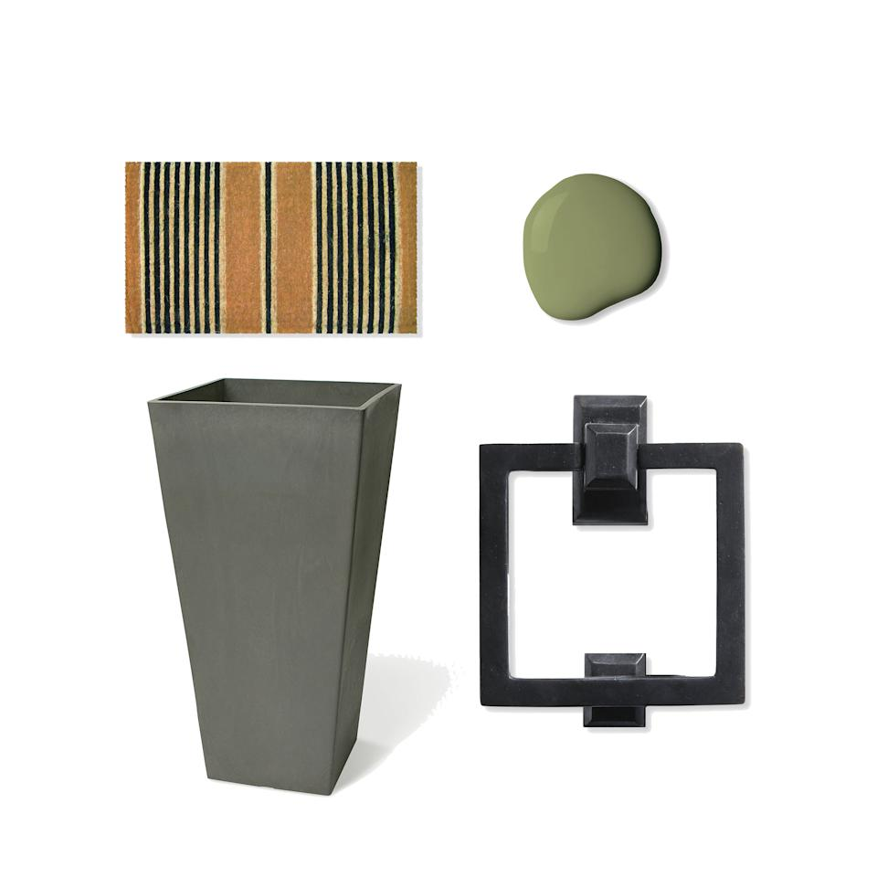 """<p>With clean lines and rich colors, these few new additions will add that modern feel to your front door. Don't be afraid of the bold front door color. It will be the focal point of your new look.</p><p>Color: Timson Green (CW-470); <a rel=""""nofollow"""" href=""""https://www.benjaminmoore.com/en-us/color-overview/find-your-color/color/CW-470/timson-green?color=CW-470"""">benjaminmoore.com</a><br>Door Knocker: Square Door Knocker, $89.95; <a rel=""""nofollow"""" href=""""http://www.signaturehardware.com/solid-bronze-square-ring-door-knocker-bronze-patina.html"""">signaturehardware.com</a><br>Doormat: Handmade Ticking Stripes Doormat, $53.99; <a rel=""""nofollow"""" href=""""https://www.allmodern.com/Handmade-Ticking-Stripes-Doormat-ETWS1081.html?redir=ticking+stripes+doormat"""">allmodern.com</a><br>Planter: Valencia Square Planter Box, from $43.99; <a rel=""""nofollow"""" href=""""https://www.wayfair.com/Algreen-Valencia-Composite-Pot-Planter-AEN1148.html"""">wayfair.com</a></p>"""