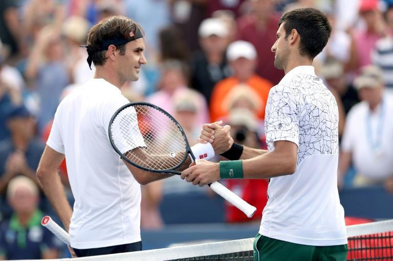 "Roger Federer (L) thinks that Novak Djokovic (R) (both pictured August 18, 2018) can play ""even better"" as he prepares for the US Open"
