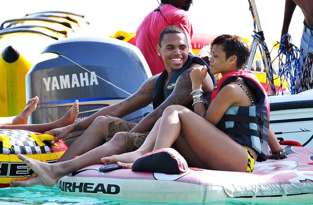 """Chris Brown and Rihanna enjoy some water sports while vacationing in her native Barbados. Wonder if he met her parents? <a href=""""http://www.splashnewsonline.com/"""" target=""""new"""">Splash News</a> - August 12, 2008"""