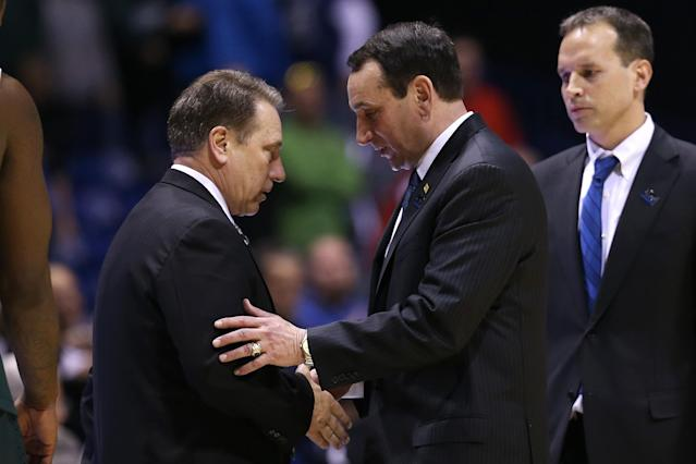 Michigan State's Tom Izzo (L) and Duke's Mike Krzyzewski may meet in the Sweet 16. (Getty)
