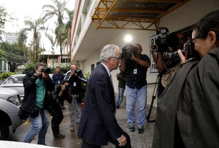 Spanish consul general in Rio de Janeiro, Manuel Salazar Palma arrives at a police station, after Spanish tourist Maria Esperanza Ruiz Jimenez, 67, died after being shot by a police officer, in the Rocinha slum, according to authorities, in Rio de Janeiro, Brazil October 23, 2017. REUTERS/Ricardo Moraes