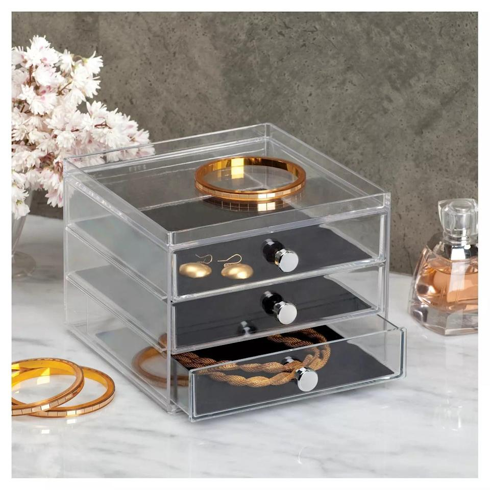 <p>See all your favorite pieces with this <span>InterDesign 3 Slim Jewelry Drawer</span> ($19).</p>
