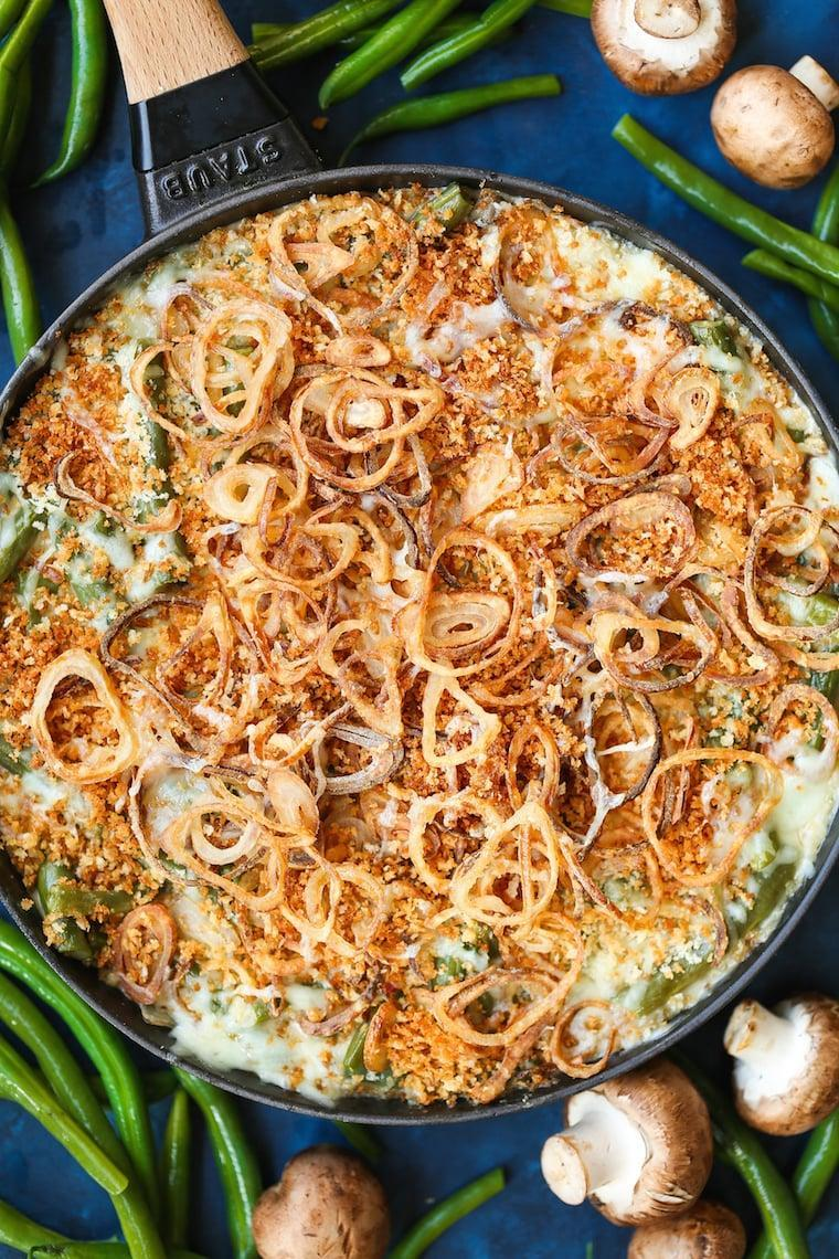 """<p>The crunch of the shallots in this recipe will make all your guests happy.</p> <p><strong>Get the recipe:</strong> <a href=""""https://damndelicious.net/2018/11/09/green-bean-casserole-with-crispy-fried-shallots/"""" class=""""link rapid-noclick-resp"""" rel=""""nofollow noopener"""" target=""""_blank"""" data-ylk=""""slk:green bean casserole with crispy fried shallots"""">green bean casserole with crispy fried shallots</a></p>"""