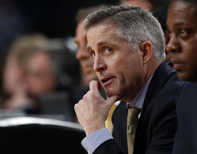 Georgia Tech head coach Brian Gregory watches from the bench in the first half of an NCAA college basketball game against Duke, Tuesday, Feb. 18, 2014, in Atlanta. (AP Photo/John Bazemore)