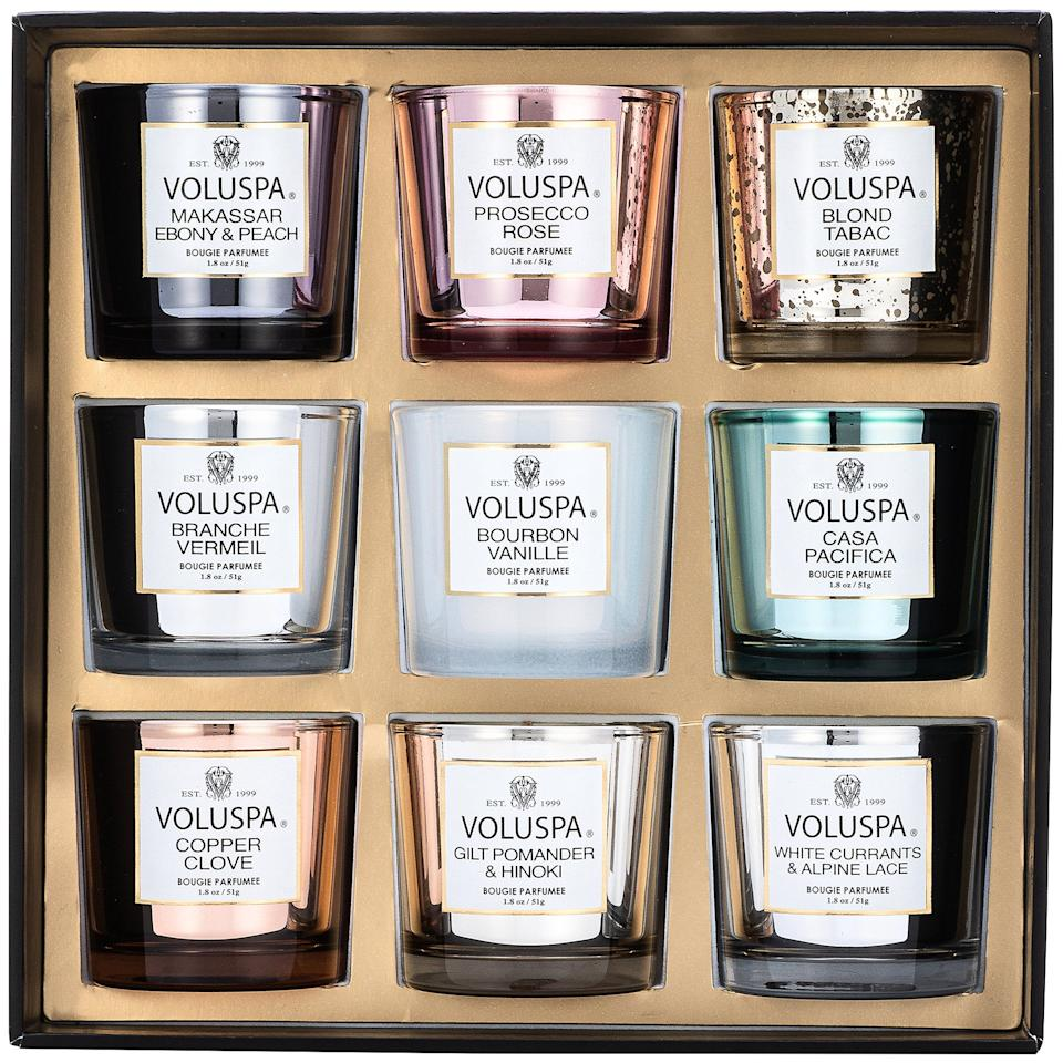 "<h3>Voluspa Nine Piece Votive Candle Set</h3><br>Create peak cozy vibes at home with this nine-pack of mini candles, perfect for keeping in your bathroom, living area, and gifting to friends.<br><br><strong>Voluspa</strong> Nine Piece Votive Candle Set, $, available at <a href=""https://go.skimresources.com/?id=30283X879131&url=https%3A%2F%2Ffave.co%2F3fujF5W"" rel=""nofollow noopener"" target=""_blank"" data-ylk=""slk:Sephora"" class=""link rapid-noclick-resp"">Sephora</a>"