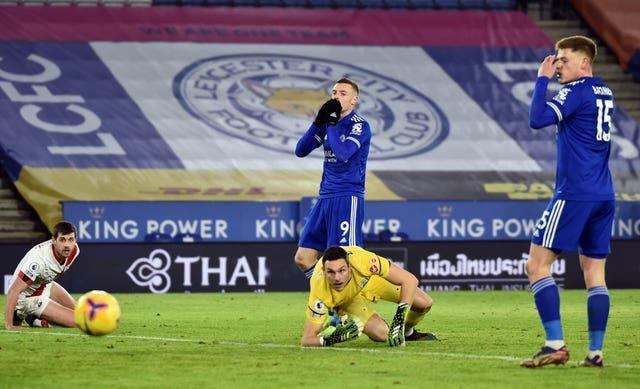 Jamie Vardy somehow failed to find the net against Southampton