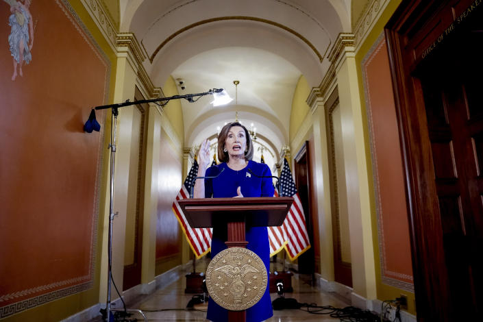 House Speaker Nancy Pelosi announcing a formal impeachment inquiry into President Trump, Sept. 24, 2019. (Photo: Andrew Harnik/AP)