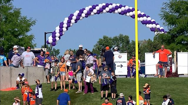 Fans Come To Broncos Training Camp In Purple For Alzheimer's Disease Awareness