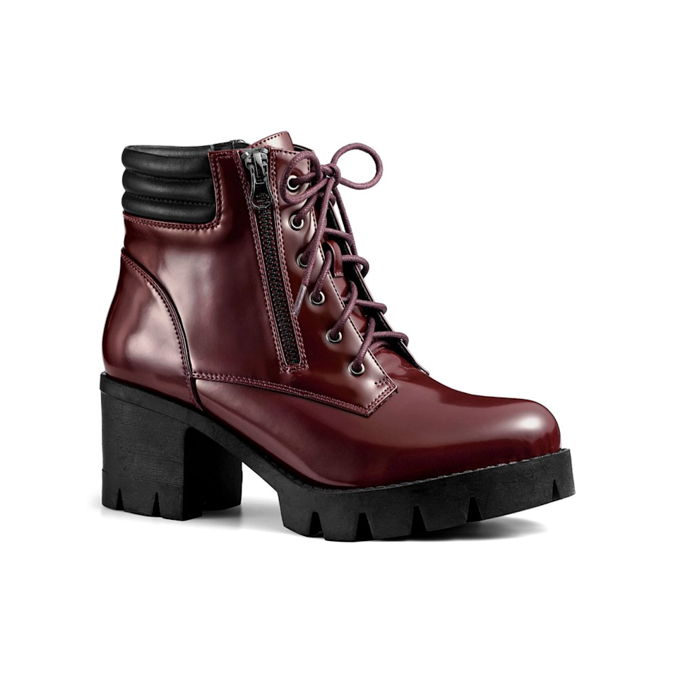 "<br><br><strong>allegra k</strong> Combat Block Heel Ankle Boots, $, available at <a href=""https://go.skimresources.com/?id=30283X879131&url=https%3A%2F%2Fwww.walmart.com%2Fip%2FAllegra-K-Women-s-Rounded-Toe-Side-Zip-Combat-Block-Heel-Ankle-Boots-Burgundy-6%2F130355480"" rel=""nofollow noopener"" target=""_blank"" data-ylk=""slk:Walmart"" class=""link rapid-noclick-resp"">Walmart</a>"