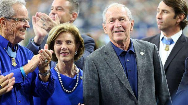 PHOTO: Former President George W. Bush and former first lady Laura Bush attend the game between the Green Bay Packers and the Dallas Cowboys, on Oct. 6, 2019, in Arlington, Texas. (Richard Rodriguez/Getty Images)