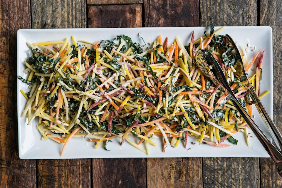 """Nutty caraway adds a pop of flavor to this sweet combination of apples, beets, and carrots. <a href=""""https://www.epicurious.com/recipes/food/views/carrot-yellow-beet-and-apple-slaw-with-caraway-seed-dressing-56389807?mbid=synd_yahoo_rss"""" rel=""""nofollow noopener"""" target=""""_blank"""" data-ylk=""""slk:See recipe."""" class=""""link rapid-noclick-resp"""">See recipe.</a>"""
