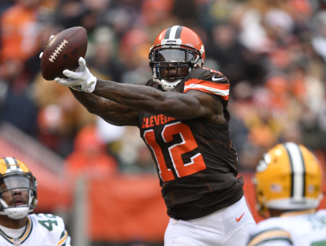 Cleveland Browns wide receiver Josh Gordon catches a touchdown pass in the first half of an NFL football game against the Green Bay Packers, Sunday, Dec. 10, 2017, in Cleveland. Green Bay won 27-21 in overtime. (AP Photo/David Richard)