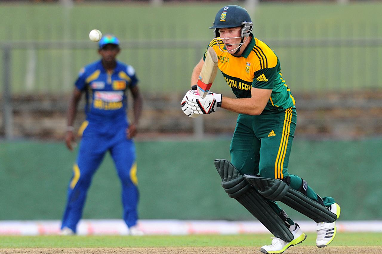 South African batsman David Miller plays a shot during the third One Day International (ODI) cricket match between Sri Lanka and South Africa at the Pallekele International Cricket Stadium in Pallekele on July 26, 2013. AFP PHOTO/ Ishara S.KODIKARA        (Photo credit should read Ishara S.KODIKARA/AFP/Getty Images)