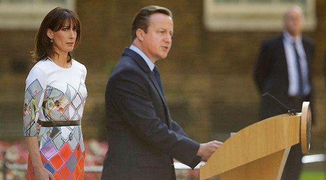 Cameron announces his resignation outside 10 Downing Street, London as his wife Samantha looks on. Source: PA Wire