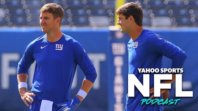 The New York Giants' passing of the torch from Eli Manning to Daniel Jones is one of four major quarterback changes in Week 3. (Photo by Rich Graessle/Icon Sportswire via Getty Images)