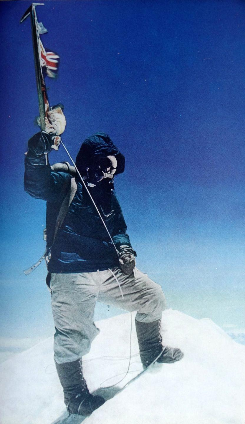 "<p>Tenzing Norgay, a Nepalese Sherpa mountaineer, is the first person to reach the summit of Mount Everest on May 29. He was traveling with mountaineer and explorer Sir Edmund Hillary, who took this photograph. </p><p><em>RELATED: <a href=""https://www.goodhousekeeping.com/life/relationships/news/a44124/mount-everest-wedding/"" rel=""nofollow noopener"" target=""_blank"" data-ylk=""slk:A Couple Got Married on Mt. Everest and the Photos Are Stunning"" class=""link rapid-noclick-resp"">A Couple Got Married on Mt. Everest and the Photos Are Stunning</a></em></p>"