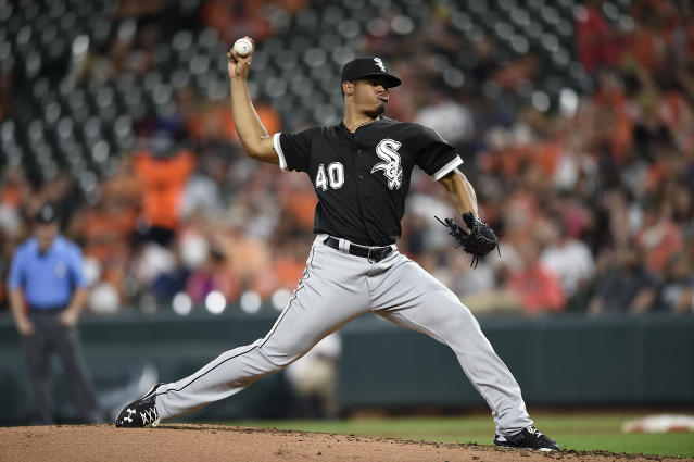 Chicago White Sox pitcher Reynaldo Lopez delivers against the Baltimore Orioles in the thirdinning of a baseball game, Saturday, Sept. 15, 2018, in Baltimore. (AP Photo/Gail Burton)