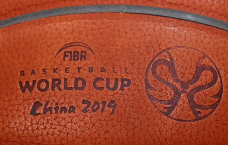 Basketball - FIBA World Cup - Iran v Puerto Rico - Guangzhou Gymnasium, Guangzhou, China - August 31, 2019 General view of the match ball ahead of the match REUTERS/Jorge Silva