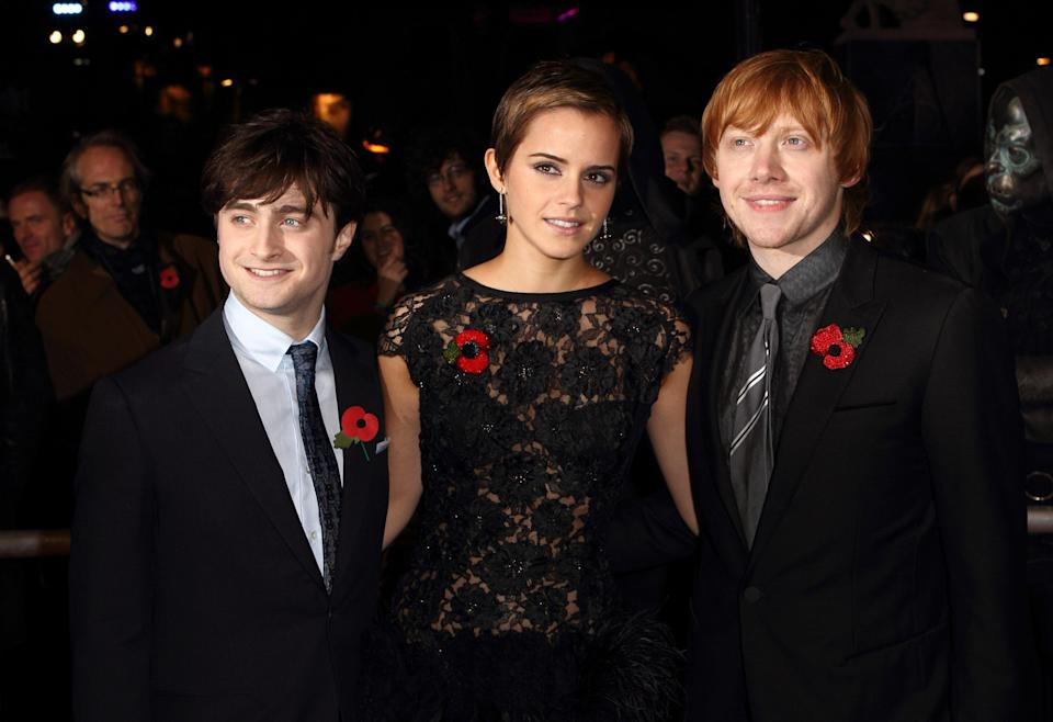 Daniel Radcliffe, Emma Watson and Rupert Grint attend the world premiere of Harry Potter and The Deathly Hallows at Odeon Leicester Square on November 11, 2010 in London, England.
