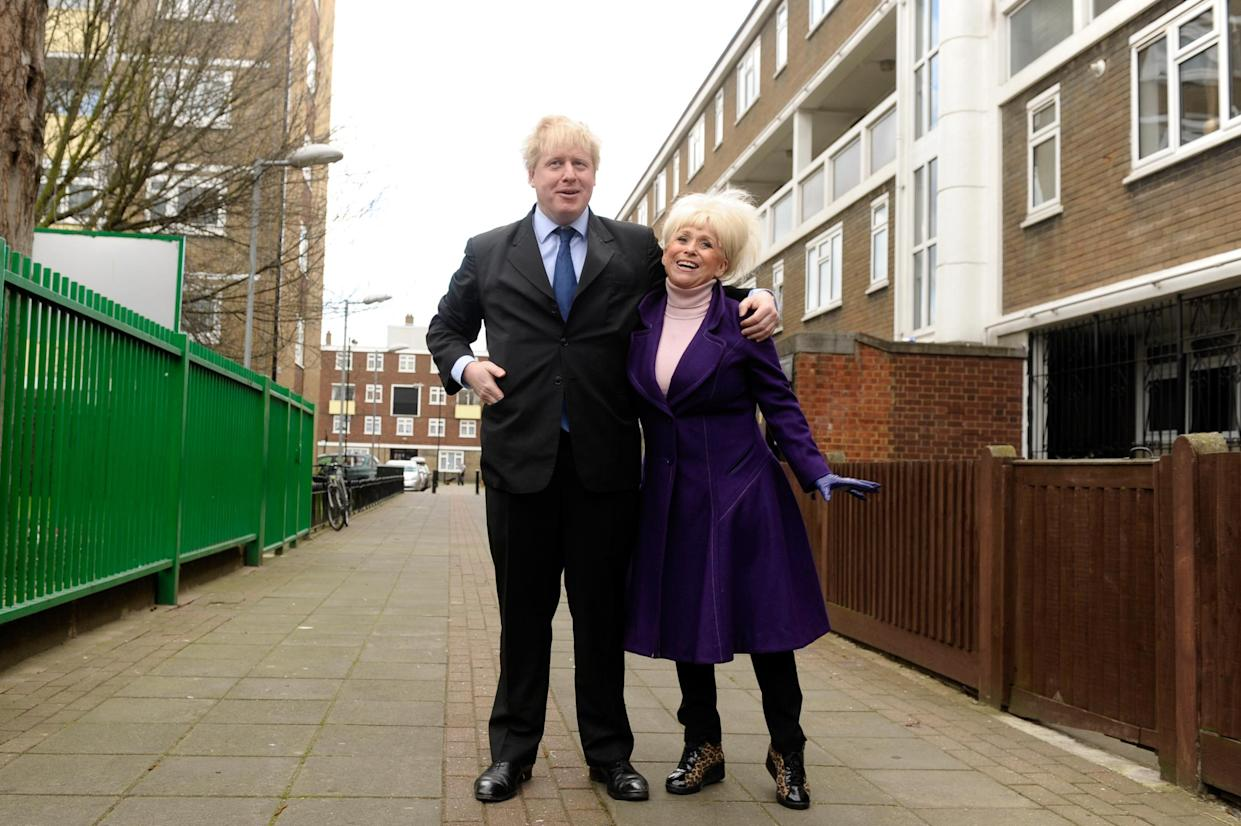 LONDON, ENGLAND - MARCH 09:  London Mayor Boris Johnson and Barbara WIndsor attend a photocall to launch this years Big Lunch initiative on March 9, 2011 in London, England.  (Photo by Ian Gavan/Getty Images)