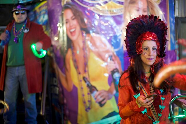 Lisa Melian attends a Mardi Gras themed party before the Philadelphia Eagles play with the New England Patriots in Super Bowl LII in Philadelphia, Pennsylvania, U.S., February 4, 2018. REUTERS/Mark Makela