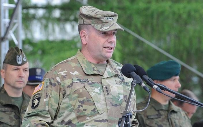 US Lieutenant General Ben Hodges speaks during the opening ceremony of the Anaconda exercises in Rembertow, Poland, on June 6, 2016 (AFP Photo/Marek Jezierski)