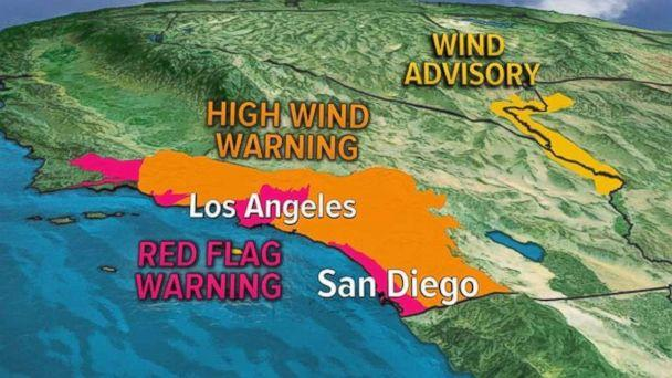 PHOTO: Parts of southern California were under Red Flag and High Wind Warnings on Thursday. (ABC )