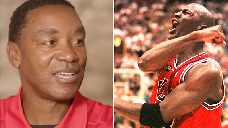Pictured here, NBA greats and fierce rivals Isiah Thomas and Michael Jordan.