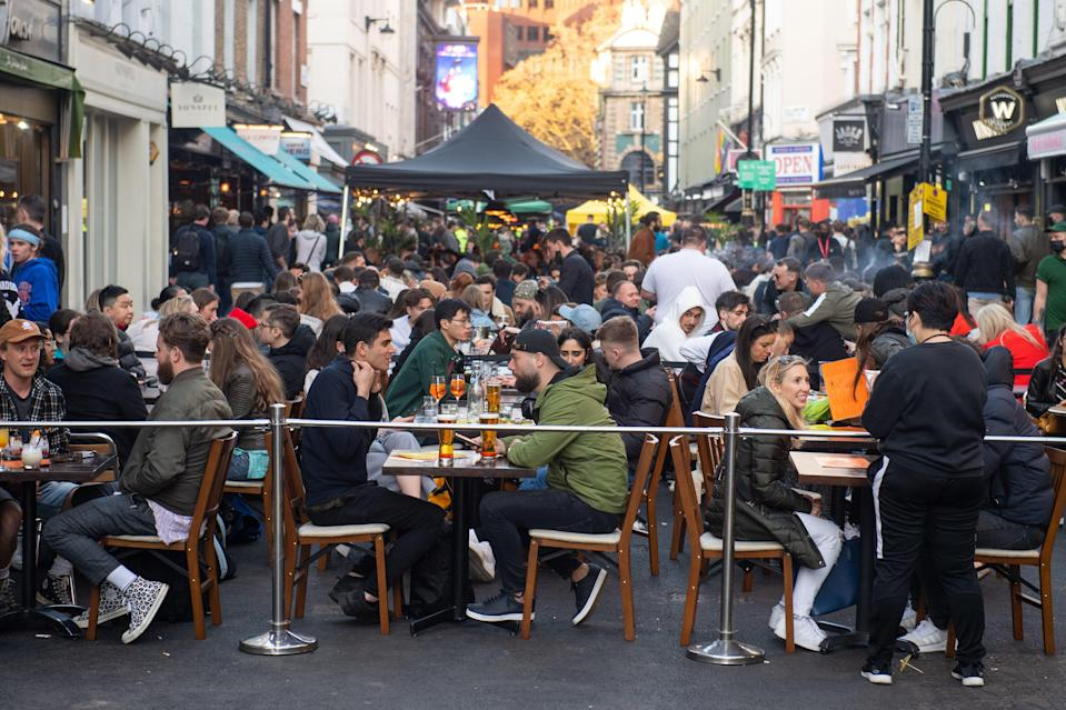 <p>Soho pubs and restaurants were busy with al-fresco drinkers on Saturday night </p> (PA)