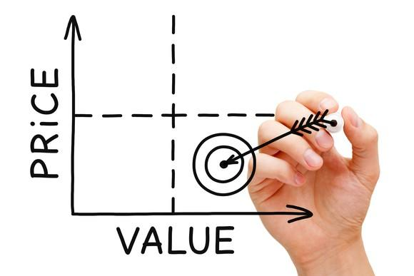 Price value chart with drawing of an arrow hitting bulls-eye in lowest price and highest value quadrant