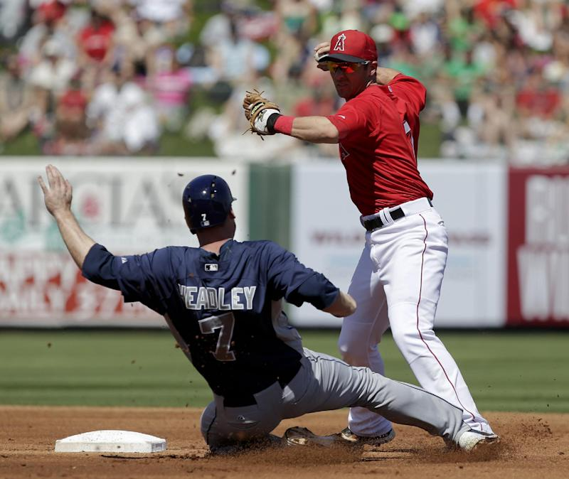 Los Angeles Angels shortstop Andrew Romine, right, forces out San Diego Padres' Chase Headley at second after Jesus Guzman hit into a double play during  the first inning of a spring training baseball game in Tempe, Ariz., Sunday, March 17, 2013. (AP Photo/Chris Carlson)