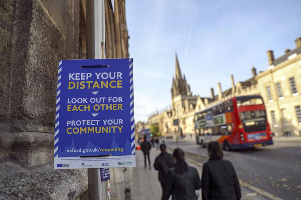 A new three-tier system of alert levels for England has been implemented following rising coronavirus cases and hospital admissions. (Photo: Steve Parsons - PA Images via Getty Images)