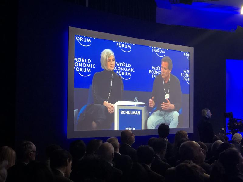 PayPal CEO Dan Schulman (right) discusses tech and stakeholder capitalism at the 2020 World Economic Forum.