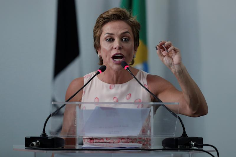 Federal Deputy Cristiane Brasil speaks during a national convention of the Brazilian Labour Party, that declared support for Geraldo Alckmin of the Brazilian Social Democracy Party (PSDB) candidacy for the presidency of the republic, in Brasilia, Brazil July 28, 2018. REUTERS/Ueslei Marcelino