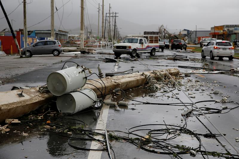 Damaged electrical installations are seen after the area was hit by Hurricane Maria in Guayama, Puerto Rico, Sept. 20, 2017. (Carlos Garcia Rawlins / Reuters)