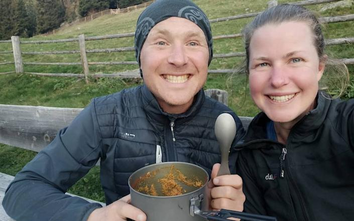 A British woman who has spent six years on a campervan tour of Europe has gone missing while walking in the Pyrenees. She is pictured here with her boyfriend Dan Colgate in September - -/Facebook