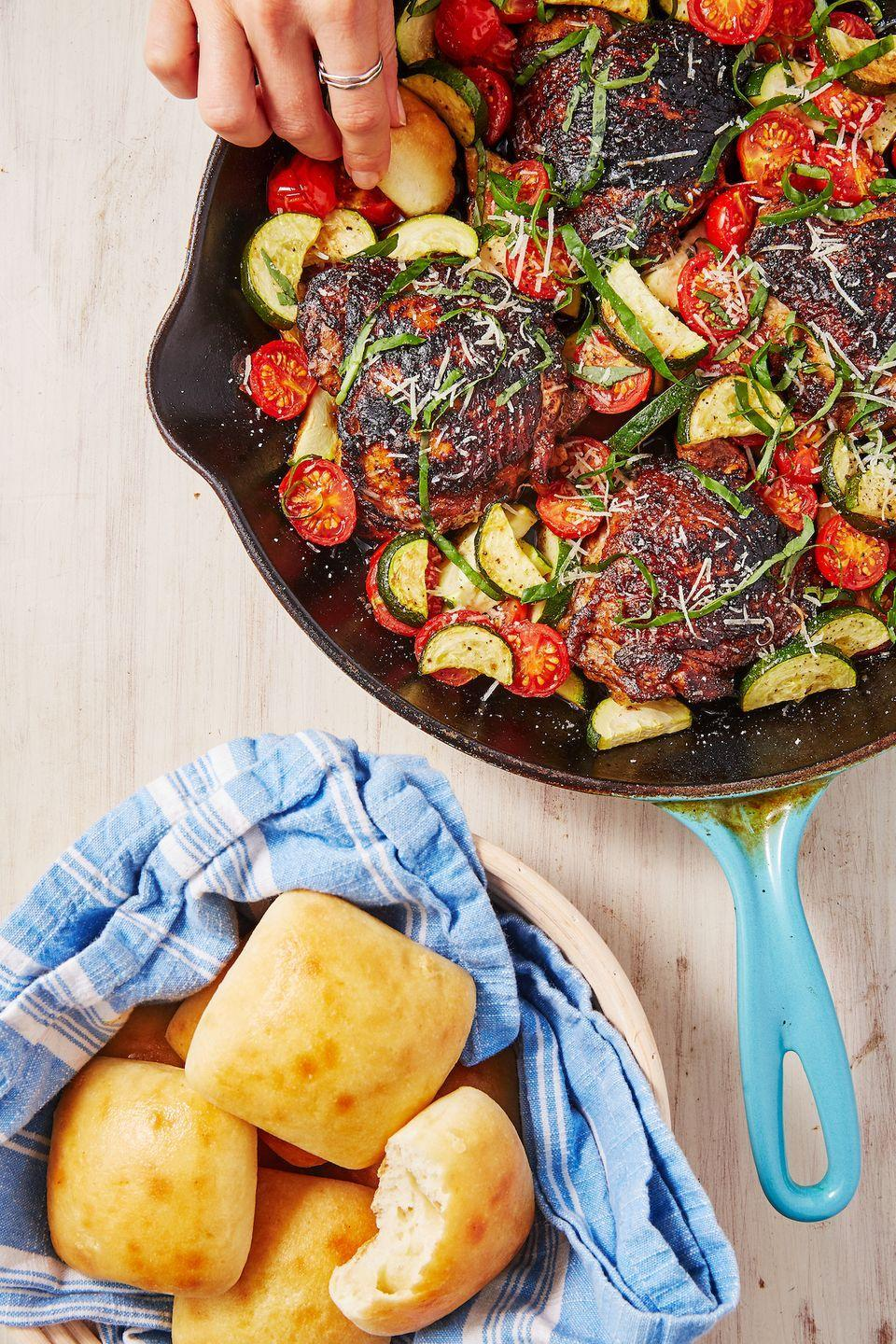 """<p>It all comes together in 30 minutes.</p><p>Get the recipe from <a href=""""https://www.delish.com/cooking/recipe-ideas/a22607407/balsamic-basil-chicken-recipe/"""" rel=""""nofollow noopener"""" target=""""_blank"""" data-ylk=""""slk:Delish"""" class=""""link rapid-noclick-resp"""">Delish</a>.</p>"""
