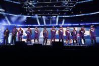 The World Team is introduced at the NBA Rising Stars basketball game in Chicago, Friday, Feb. 14, 2020. (AP Photo/Nam Y. Huh)
