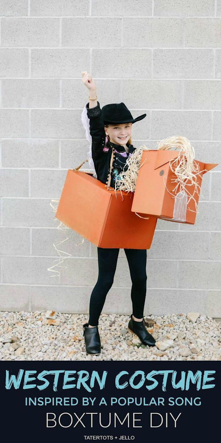 """<p>If your kid is hoping to take their horse to the old town road this Halloween, they'll dig this one-of-a-kind """"boxtume."""" Yeehaw!</p><p><strong>Get the tutorial at <a href=""""https://tatertotsandjello.com/western-boxtume-costume-diy/"""" rel=""""nofollow noopener"""" target=""""_blank"""" data-ylk=""""slk:Tatertots & Jello"""" class=""""link rapid-noclick-resp"""">Tatertots & Jello</a>.</strong></p><p><a class=""""link rapid-noclick-resp"""" href=""""https://www.amazon.com/Funny-Party-Hats-Cowboy-Hat/dp/B07BRN6FFC?tag=syn-yahoo-20&ascsubtag=%5Bartid%7C2164.g.33925966%5Bsrc%7Cyahoo-us"""" rel=""""nofollow noopener"""" target=""""_blank"""" data-ylk=""""slk:SHOP COWBOY HATS"""">SHOP COWBOY HATS</a></p>"""