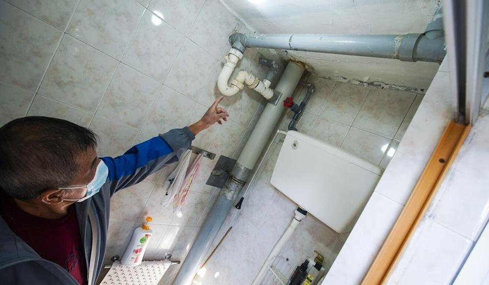 Samples were taken from pipes at Fung Chak House. Photo: Felix Wong