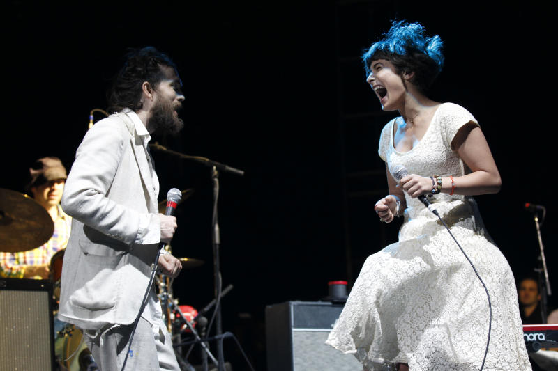 Alex Ebert and Jade Castrinos of the  Edward Sharpe & the Magnetic Zeros  perform at the Myspace Big Easy Express concert at SXSW in Austin, Texas, Saturday, March 17, 2012. (Jack Dempsey/AP Images for Myspace)